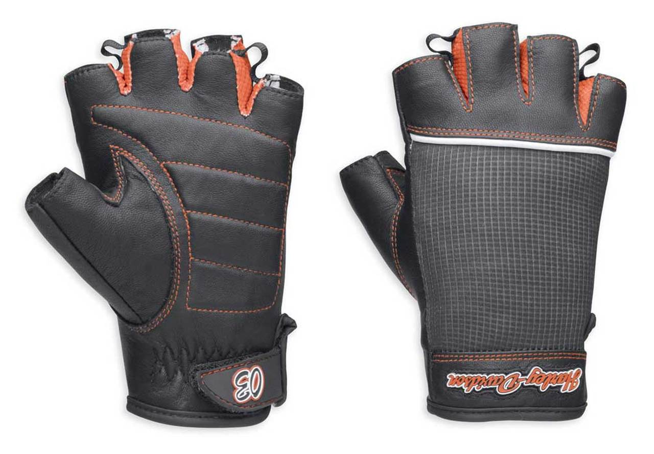 H98296-14VW Guantes Cora Leather & Mesh Fingerless Gloves